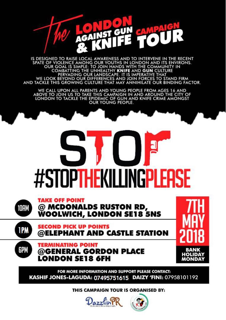 The LONDON AGAINST GUN & KNIFE BUS TOUR is designed to raise local awareness and to intervene in the recent spate of violence among our youths in London and its environs.